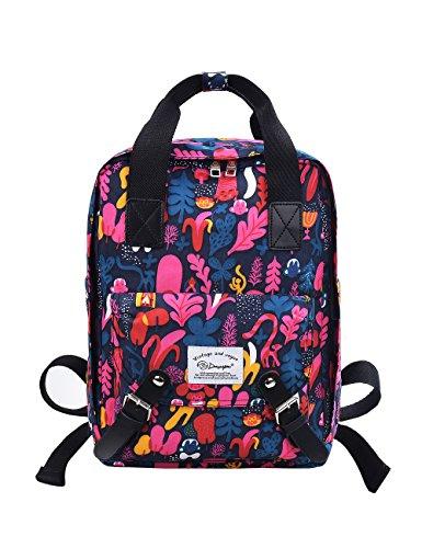 "Douguyan Nylon Backpack Handbag Multi Rucksack Daypack Notebook 15.6"" Wasserdicht Damen Herren Schule Reisen Sport Rucksäcke School Travel Bag Mens Women Schulrucksack Reiserucksack E00287 Rosa Rot"