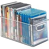 mDesign DVD boîte de rangement – meuble de rangement DVD avec prise – en plastique transparent – boîte pour le stockage des DVD, CD et jeux vidéo – 25,4 cm x 15,25 cm x 15,25 cm