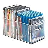 mDesign Porta DVD, CD y videojuegos – Sistema de almacenaje de películas, series, música o juegos de consola – Cajas para DVD de plástico transparente – 25,4 cm x 15,25 cm x 15,25 cm