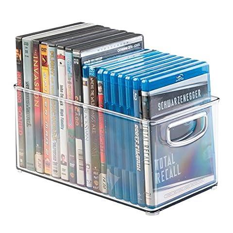 mDesign DVD boîte de rangement – meuble de rangement DVD avec prise – en plastique transparent – boîte pour le stockage des DVD, CD et jeux vidéo – 25,4 cm x 15,25 cm x 15,25