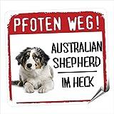 Siviwonder Auto Aufkleber AUSTRALIAN SHEPHERD MOTIV 4 PFOTEN WEG Hundeaufkleber REFLEKTIEREND REFLECTIVE