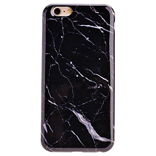 """Coque iPhone 6 / 6S, Solaxi Etui en Marbre Texture Bumper Étui Cas de Protection en Soft TPU Silicone Ultra Slim Mince Léger Antichoc Anti Rayure Housse Case iPhone 6/6S 4.7"""" Coque Dessin marbré - Bla Noir"""