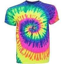 TDUK - Camiseta psicodélica modelo arcoíris de manga corta hombre Verano Hippie