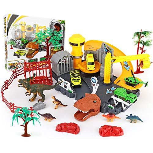 Siyushop Stationnement pour Enfants , Ensemble de Jeu pour Dinosaures Center Centre de Recherche sur Les Dinosaures: 7 Dinosaures, 3 Voitures, 1 Avion 4 Arbres , Jouet éducatif Ultimate Dinos Park