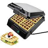 Leogreen - Waffle, Elettrico Belgio Cialde, Argento, Funzioni: Può cucinare 4 cialde contemporaneamente, Standard/Certificazione: GS