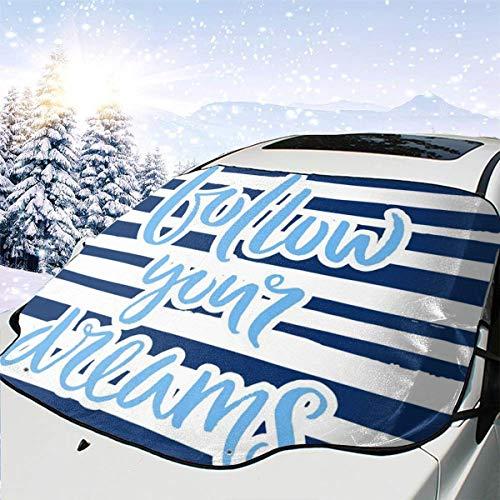 Dataqe Stock-Illustration, handgezeichnetes Buchstaben-Poster, 140 x 117 cm, faltbar, Auto-Windschutzscheibe, Sonnenschutz, UV- und Hitze-Reflektor, für die meisten Autos, hält Ihr Auto kühl