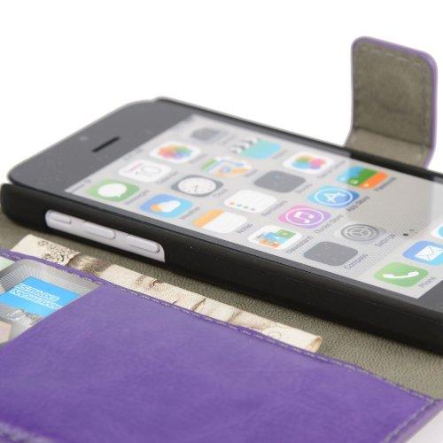 MADCASE Apple iPhone 5C Premium Leder/Harthülle/Gel/Silikon/Strapazierfähig/Durchsichtig/Klar/Portemonnaie/Kreditkartenhalter Flip Case Bumper Ständer Hülle mit Display Schutz und Eingabestift - Weich Premium Kunstleder - Schwarz