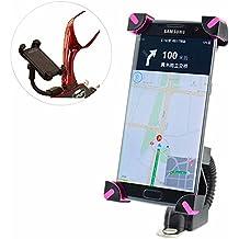 Soporte Para Motocicleta, COSCOD Soporte Móvil Motocicleta Ultra Estable 4 Esquinas Cerradas Silicona Antideslizante Universal para 3,5'' a 6,5'' de iPhone Android Smartphone GPS, etc. Rose