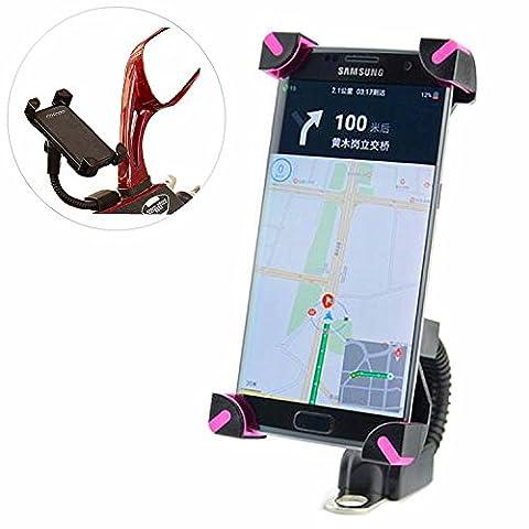 Support Moto pour Téléphone portable, support de téléphone réglable 360° Support GPS Garmin Support rotatif pour scooter ATV cyclomoteur Rétroviseur pour iPhone 3S/6/5S/5C/4S/iPod/GPS/MP4/Samsung/S7/S6/EDGE