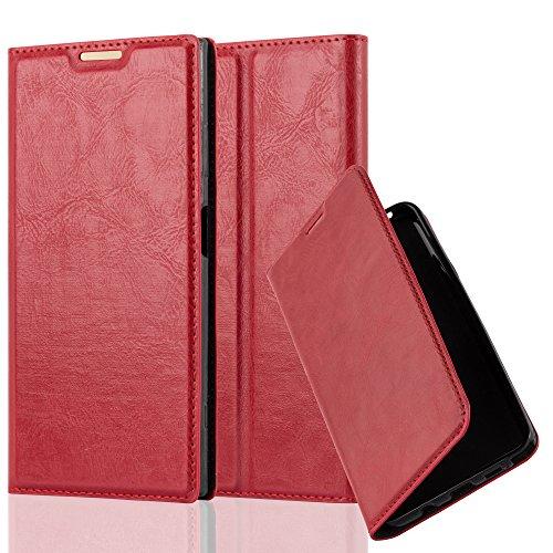 Cadorabo Hülle für Sony Xperia XA1 Plus - Hülle in Apfel ROT - Handyhülle mit Magnetverschluss, Standfunktion & Kartenfach - Case Cover Schutzhülle Etui Tasche Book Klapp Style