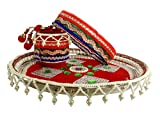 Unique Arts & Interiors Stainless Steel Karwa Chauth Red Puja Thali Set (10x10-inch, Red)