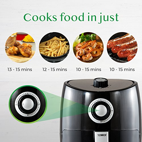 Tower T17023 Air Fryer with Rapid Air Circulation System, VORTX Frying Technology, 30 Minute Timer and Adjustable Temperature Control for Healthy Oil Free or Low Fat Cooking, 1000 W, 2.2 Litre, Black