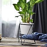 Set von 2Keramik Blumentopf Outdoor Geometrische Eisen Rack Halter, Metall Ständer mit 10,9cm Keramik Blumentopf Übertopf Innen für vollmundigen Air Pflanze Blumen