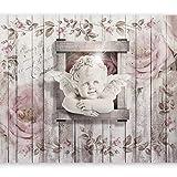 murando - Fototapete 350x256 cm - Vlies Tapete - Moderne Wanddeko - Design Tapete - Wandtapete - Wand Dekoration - Engel Blumen Holz h-A-0048-a-a