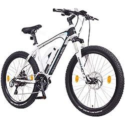 "NCM Prague Plus 26"" Bicicleta de montaña eléctrica E-MTB, motor Bafang 36V 250W, batería Li-Ion extraíble 36V 14Ah con USB, frenos de disco hidráulicos Tektro, Cambios Shimano Acera, neumáticos Schwalbe de 2.25'' (Blanco 26"")"