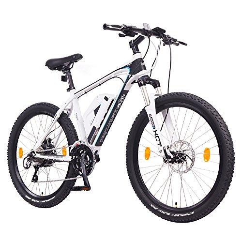 NCM Prague+ 36V, 26' Zoll E-MTB, Mountainbike E-Bike, 250W Bafang Heckmotor, 14Ah 504Wh Akku + Panasonic Li-Ion Zellen, hydraulische Tektro Scheibenbremsen, 24 Gang Schaltung, Designer Rahmen, weiß