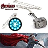 (2 Pcs AVENGER SET) - IRON MAN ARC REACTOR SILVER (SLV2) 3D GLASS DOME PENDANT & THOR HAMMER (SILVER COLOUR) IMPORTED PENDANT WITH CHAIN. LADY HAWK DESIGNER SERIES 2018. ❤ LATEST ARRIVALS - NOW ON SALE IN AMAZON - RINGS, KEYCHAINS, NECKLACE, BR