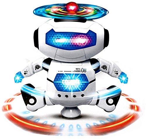 SANNYSIS Electronic Walking Dancing Smart Space Robot Astronaut Kids Music Light Toys White