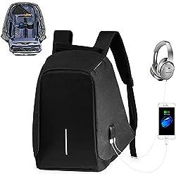 Anti-robo Mochila para Portátil, Mochilas Escolares Juveniles para hombres y mujeres, Mochila Casual Chico con USB Puerto de Carga (Negro)