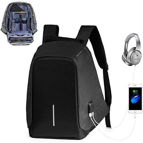 Anti-Diebstahl Laptop Rucksack mit USB 15,6 Zoll Laptop Schulrucksack Anschluss für Schule,Uni,Business,Reisen,Schwarz - Minimalistischer Rucksack