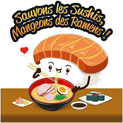 Pull Humoristique - Collection Humour et Japan par okiWoki - Sauvons les Sushis !! - Pull Noir - Haute Qualité (879) Noir