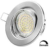 LED Einbaustrahler Dimmbar GU10 Warmweiss 250lm - Chrom Gebürstet - Einbauleuchten - Einbauspots (CG - Warmweiss)