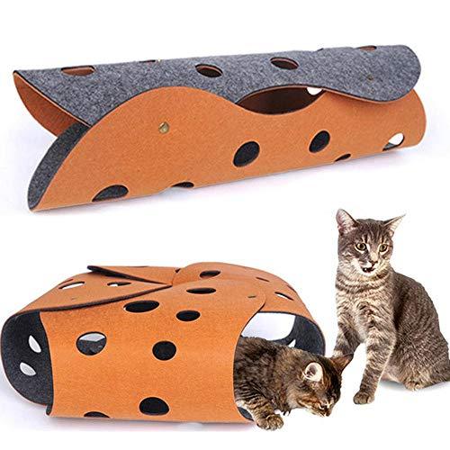 Auoker Spielmatte für Katzen, Tunnel, interaktiv, Filztunnel, Spielmatte für Katzen, Hund, Katzen, Übungen, zufällige Kombinationen und unendliche Verlängerung, 2 Stück -