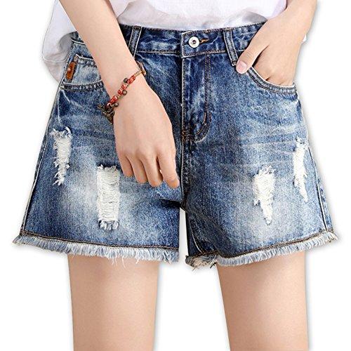 WCZ Mädchen Tragen alte Jeans, Shorts, jugendlichen Sport, Hohe Taille Hot Pants/Leichte Große Hellblaue Hosen,Hellblau,33