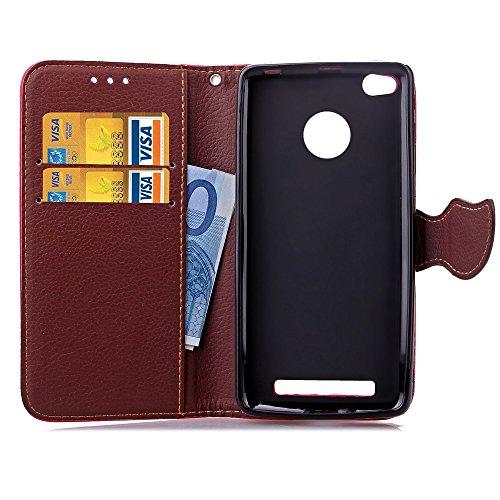 YHUISEN Natur-Blatt-Magnetverschluss-Art PU-Leder-Mappen Stand Feature Flip Case Schutzhülle mit Lanyard-Bügel für Xiaomi Redmi Anmerkung 3 ( Color : Black , Size : Xiaomi Redmi 3S ) Rot