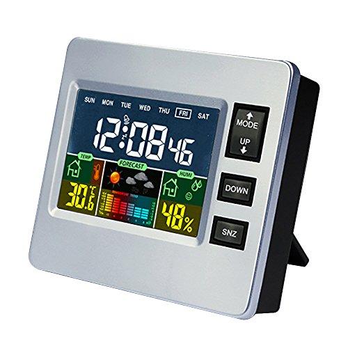 Estación Meteorológica Sensor de Interior/Exterior iluminación nocturna de gran pantalla LCD, multifuncional...