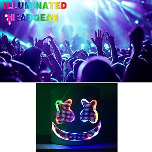 Ganmek Halloween Party Nachtclub LED Leuchtende Latex Weiß Maske für Cosplay Neuheit Kostüm Musik Festival ()