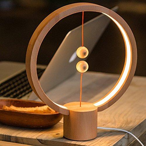 YL-Light Magnetische Balance Tischleuchte Smart Halbleer Schalter Kreative Holz Runde LED Kleine Nachtlicht Für Schlafzimmer Lesen,B (Holz 599)