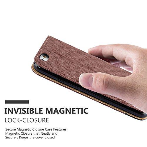 Cadorabo - Etui Housse pour Apple iPhone 6 / 6S avec Fermeture Magnétique Invisible (stand horizontale et fentes pour cartes) désign raphia - Coque Case Cover Bumper Portefeuille en ROSE-ROUGE BRUN-NOIR