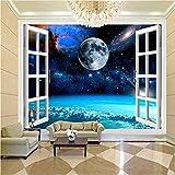 Qwerlp Murale Carta Da Parati 3D Finestra Spazio Pianeta Terra Pittura Murale Camera Da Letto Soggiorno Wall Papers Home Decor Wallpaper-410Cmx310Cm