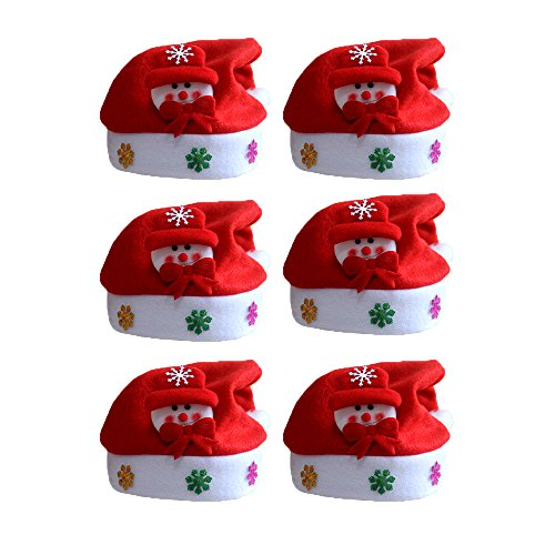 Weihnachtsmann Muster Kostüm Kinder (FY 6pcs Unisex Kinder Weihnachtsmützen Nikolausmützen Weihnachtsmann Hüte Mützen Weihnachten Cap Leuchtendes Muster Xmas Abendessen Partei Kostüm Farbe)