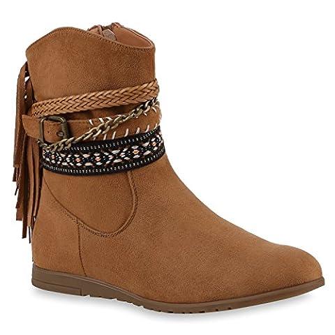 Damen Cowboy Boots Stiefel Holzoptikabsatz Lederoptik Stiefeletten Booties Trichterabsatz Schuhe 120719 Hellbraun Ethno 39 | Flandell