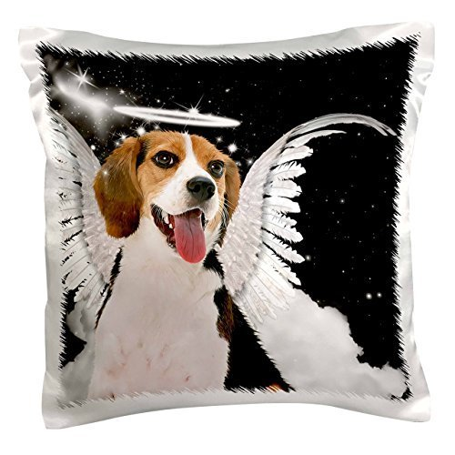 Halo Angel Wings (Beagle Angel Dog with clouds, a cute Halo and Angel Wings-Pillow Case, 16 by)