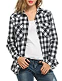 Best Meaneor White Shirts - Meaneor Women 3/4 Sleeve Split V-Neck Plaid Long Review