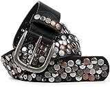 styleBREAKER Nietengürtel im Vintage Design mit echtem Leder, verschiedenen Nieten und Strass, kürzbar, Damen 03010051, Farbe:Schwarz / Kupfer;Größe:85cm