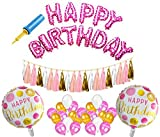 AMFIN® Happy Birthday Foil Balloons with Matching Tassels / Happy Birthday Set / Birthday Decoration Items Combo