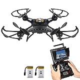 Potensic Drone con Telecamera, 5.8GHz FPV Monitor 4CH 6-Axis Gyro RC Quadcopter Drone con videocamera HD, 3D Flips funzione - nero immagine
