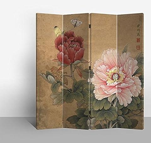 Fine Asianliving séparateur de pièce 4panneaux Dan Papillons sur toile pliable écran double Impression Décor