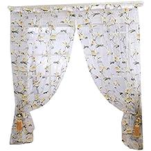 Tongshi Pantallas flores Peony Brillante Tulle Ventana Puerta Balcón cortina escarpada cubierta Bufandas (amarillo)
