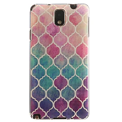 Pour Samsung Galaxy Note 3 Note3 N9000 Coque,Ecoway Housse étui en TPU Silicone Shell Housse Coque étui Case Cover Cuir Etui Housse de Protection Coque Étui Samsung Galaxy Note 3 Note3 N9000 –Gradient diamond