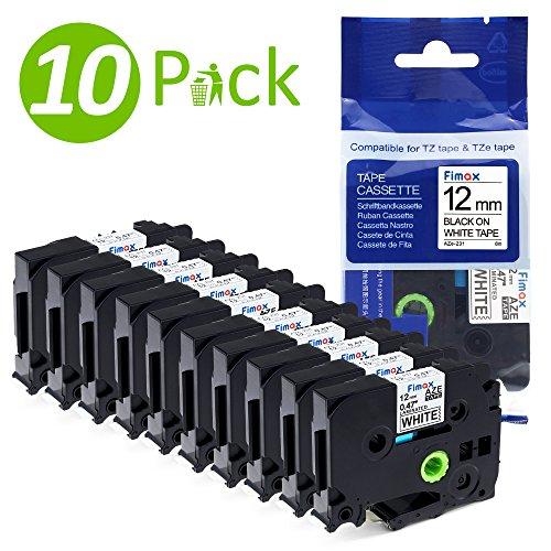 10x kompatibel Schriftband Schriftbandkassette TZe-231 TZe231 TZ231 für Brother Ptouch PT1000 PT1230PC 400 H101TB 105WB H100LB / Schwarz auf Weiß / 12mm x 8m