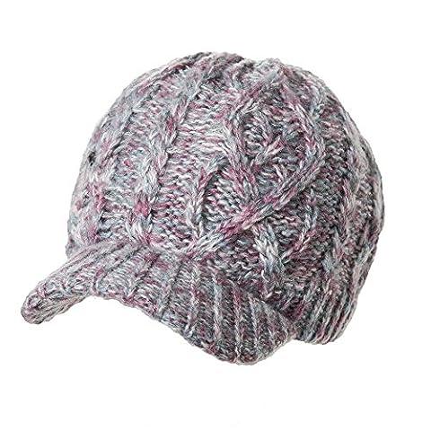 Siggi - Bonnet casquette à visière pour femme, en laine de coton épaisse tricotée, couleurs variées - violet - Taille