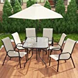 Brown Metal and Cream 6 Seater Garden Dining Set - Parasol Included