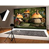 10x6.5ft(300x200cm) Natual Photography Backdrops Mysterious Cute Mushroom House Forest Colorful Flowers Photo Background for Children
