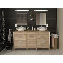 Amazon.fr : meuble salle de bain double vasque bois