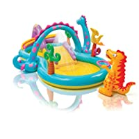 Intex 57135NP Dinosaur Water Play Center, Paddling Pool with Moveable Arch Water Spray. Perfect Activity Centre for Outdoor Summer Fun! - Multicolor